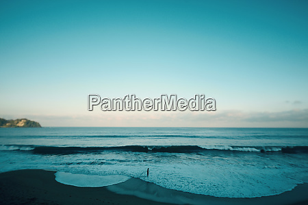 tranquil beach and blue ocean seascape