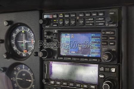 close up airplane cockpit radio and