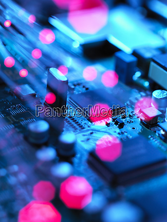 fibre optics carrying data passing across