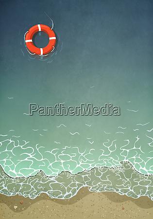 life, ring, floating, in, ocean, water - 27357476