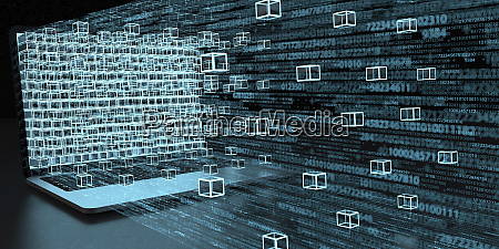 3d illustration a laptop and blockchain