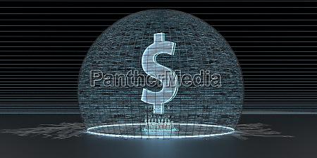 digital dollar currency 3d illustration