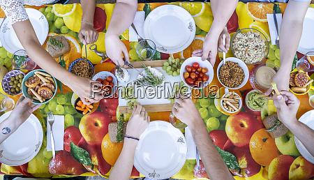healthy vegetarian meal on top of