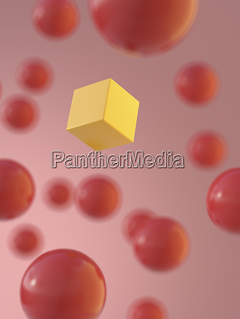 rendering of yellow cube amidst red
