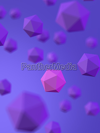 rendering of pink platonic solid amidst
