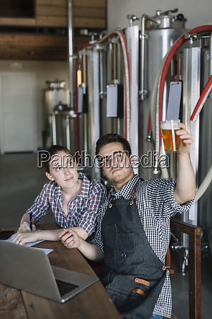 young entrepreneurs working at a brewery