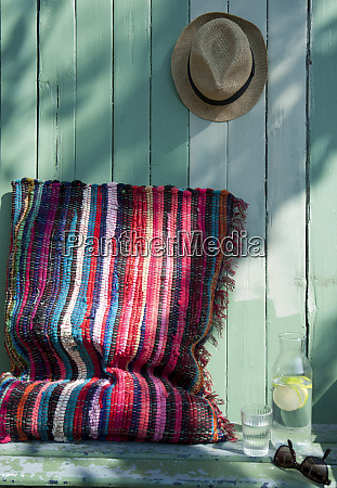 cushion made of patchwork rug