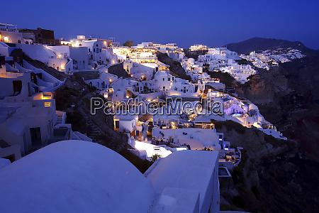 panoramic view of oia santorini greece