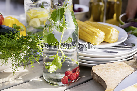 detox infused water on garden table