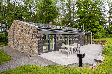 detached house with solar panels on