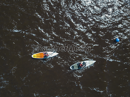 aerial view of sup surfers st