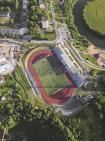 aerial view of sport stadium tikhvin