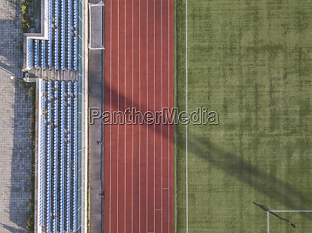 aerial view of grandstand racetrack and