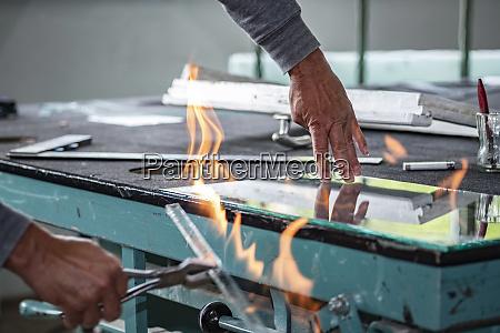 glazing glazier during work flame cutting