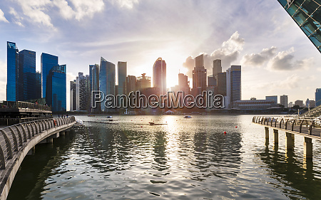 skyline of financial district and marina