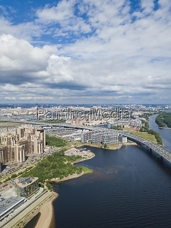 aerial view over st petersburg russia
