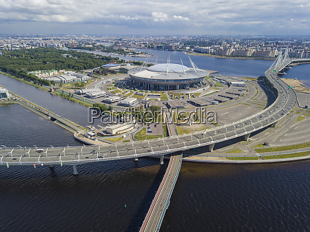 aerial view over gazprom arena st