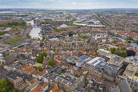 aerial view of haarlem cityscape against