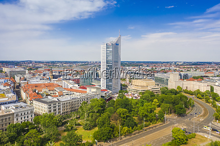 high angle view of city hochhaus