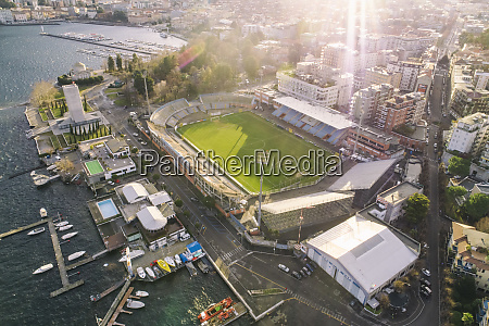 aerial view of como with football