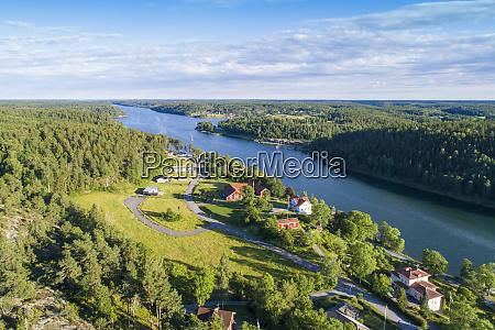 aerial view of valdemarsvik in oestergoetland