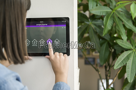 young woman with tablet with smart