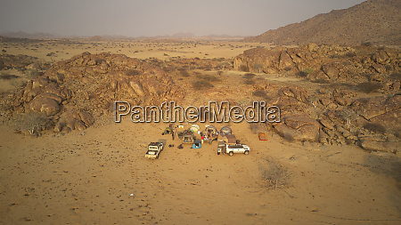 aerial view of expedition of 4x4