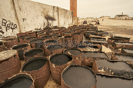 old oil drums at the abandoned