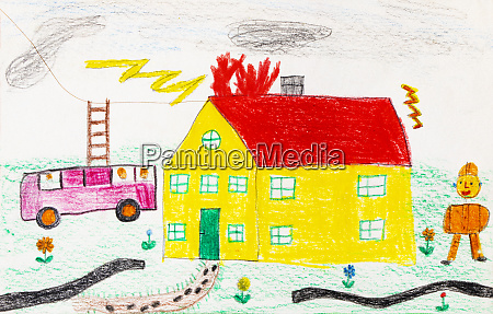 childs drawing of a fire brigade