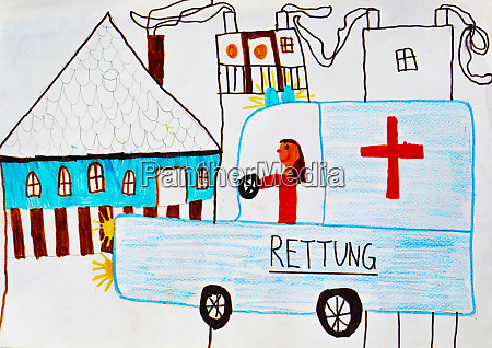 childs drawing of an ambulance rescue