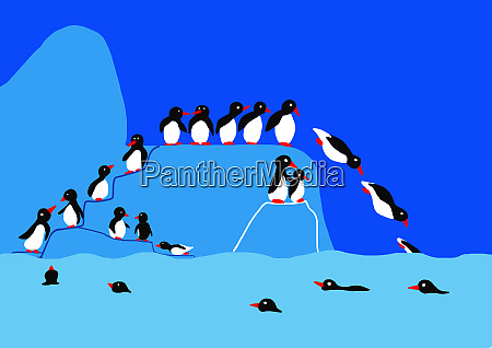 childs drawing of penguins on iceberg