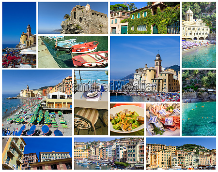 colorful buildings and beach at camogli