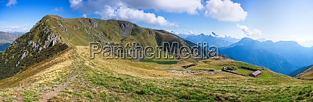 mountain panorama with blue sky and