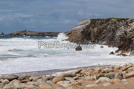 waves of atlantic on wild coast