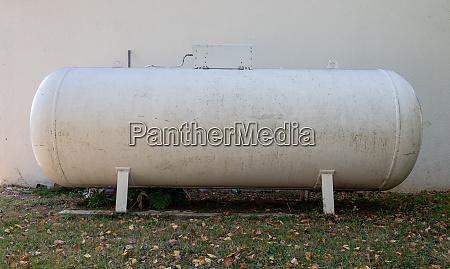 propane gas tank in a garden