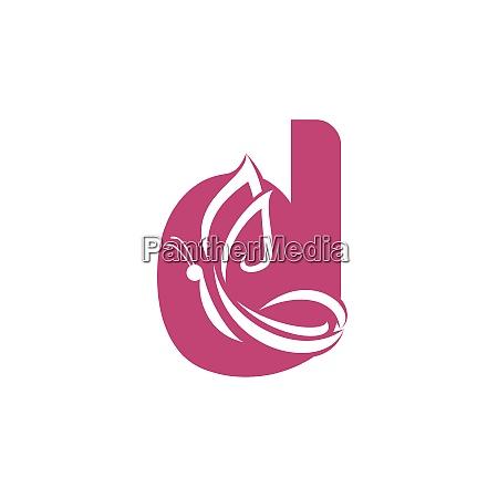 butterfly letter d vector logo design