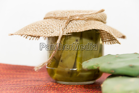 typical nopal pickled food of the