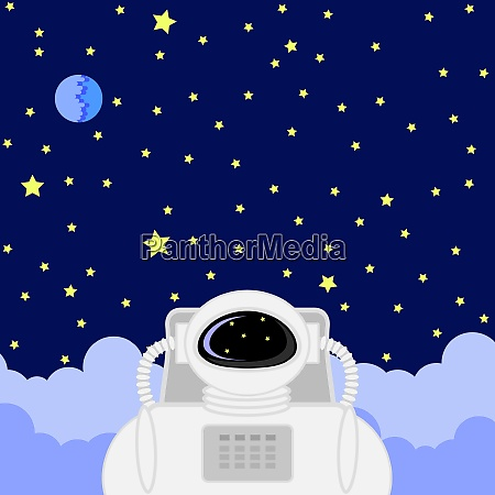 astronaut icon on starry sky background