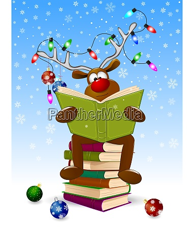 reindeer, reading, a, books, for, christmas - 27377160