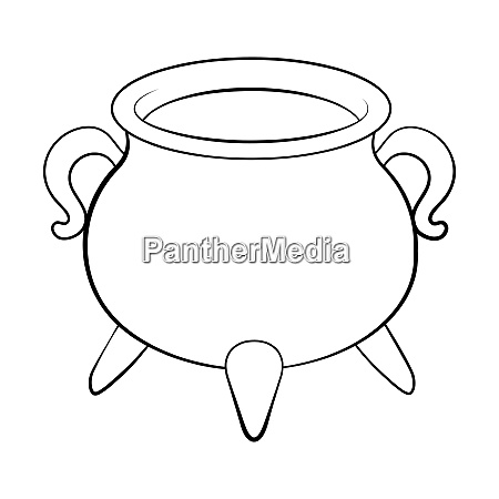 witch cauldron pot outline isolated on