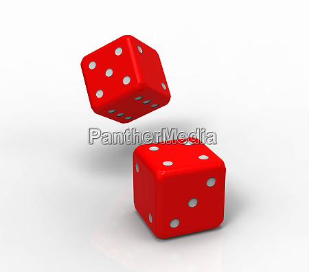 two red dices 3d rendering