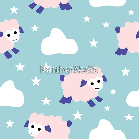 cute pink sheep clouds and stars