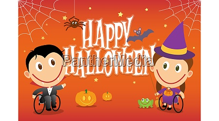 wheelchair children in halloween costumes vector