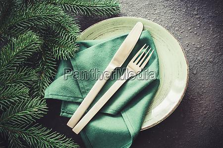 festive table setting for christmas or