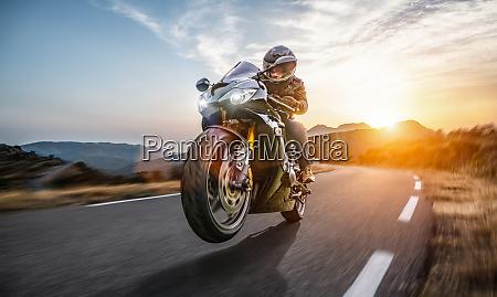 fast motorbike on the coastal road