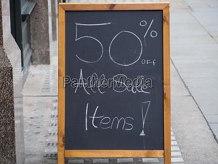 50 percent sales sign