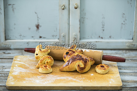 easter bunnies pastry on wooden table
