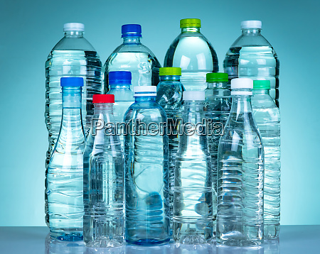 set of transparent plastic water bottle