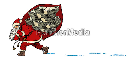 santa with a dollars money prize