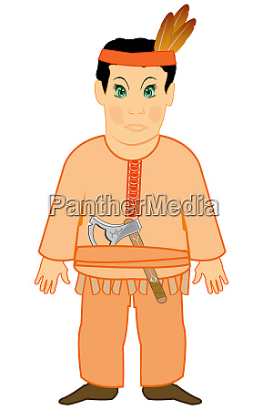 indian with tomahawk on white background